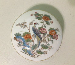 Wedgwood Bone China Kutani Crane Round Trinket Box Dish with Lid - $14.84