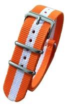 20mm X 255mm Nato Canvas Nylon wrist watch Band strap ORANGE WHITE MII - $14.22