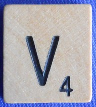 Scrabble Tiles Replacement Letter V Natural Wooden Craft Game Piece Part - $1.44