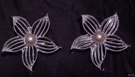 Pair of Vintage Sarah Coventry Silver-Tone Flower Brooch Pin w/Faux Pear... - $19.95