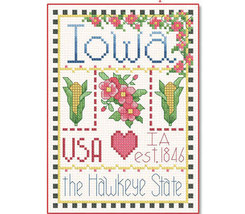 Iowa Little State Sampler cross stitch chart Alma Lynne Originals - $6.50