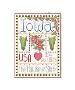 Iowa Little State Sampler cross stitch chart Alma Lynne Originals - $6.50