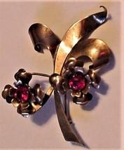 "Vintage IH Indian Homemade Flower Rhinestone Pin 1/20-10K Pin Brooch 2 1/2"" - $49.95"