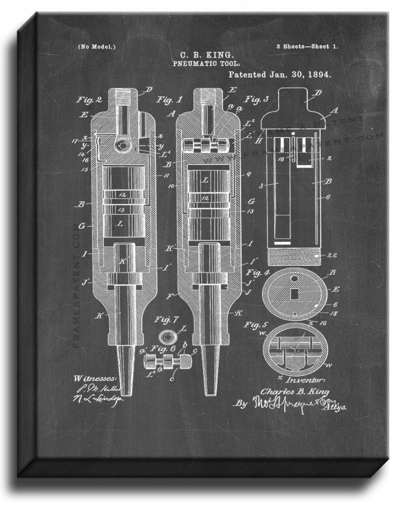 Primary image for Pneumatic Tool Patent Print Chalkboard on Canvas