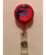 Nfl Buffalo Bills Badge Reel Id Holder red blue alligator clip handmade new - $6.95