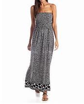 Anne Klein Black/White Multi Animal Print Strapless Maxi Dress Size S - $34.99