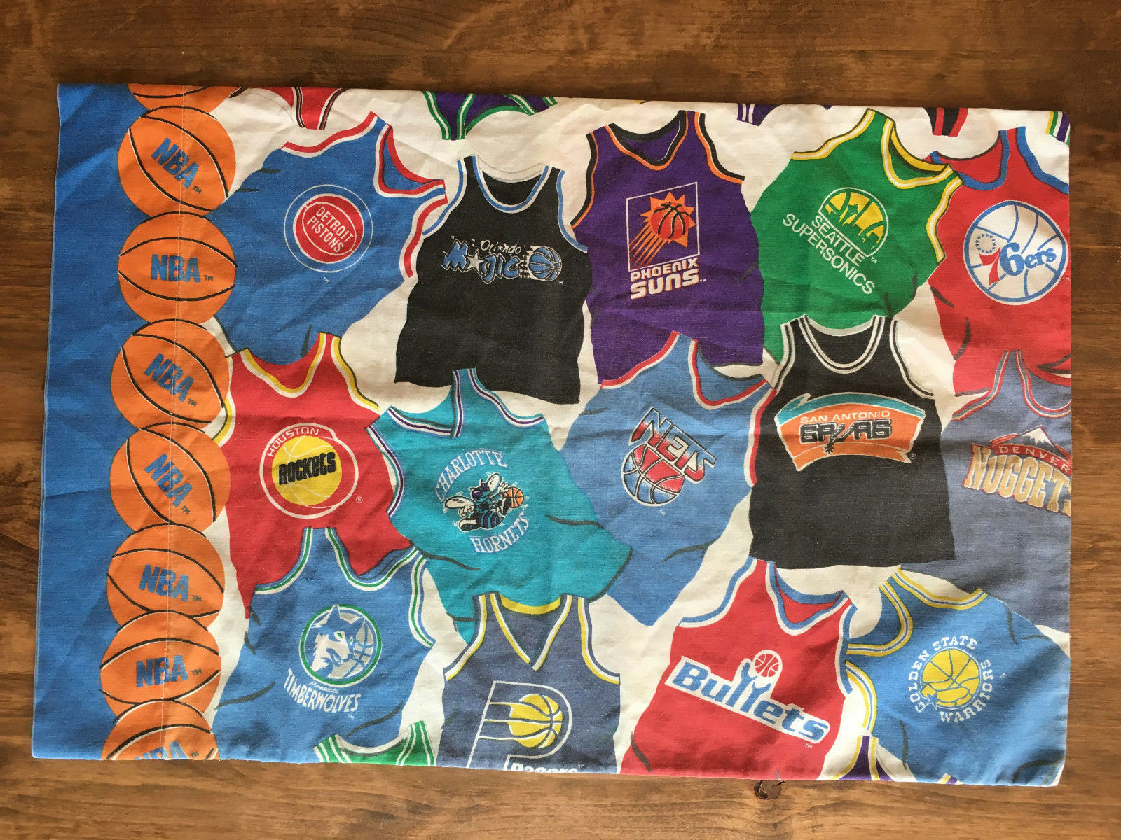 Vintage 90s 80s NBA Standard Pillow Case Pacers Timberwolves Nets 76ers Suns