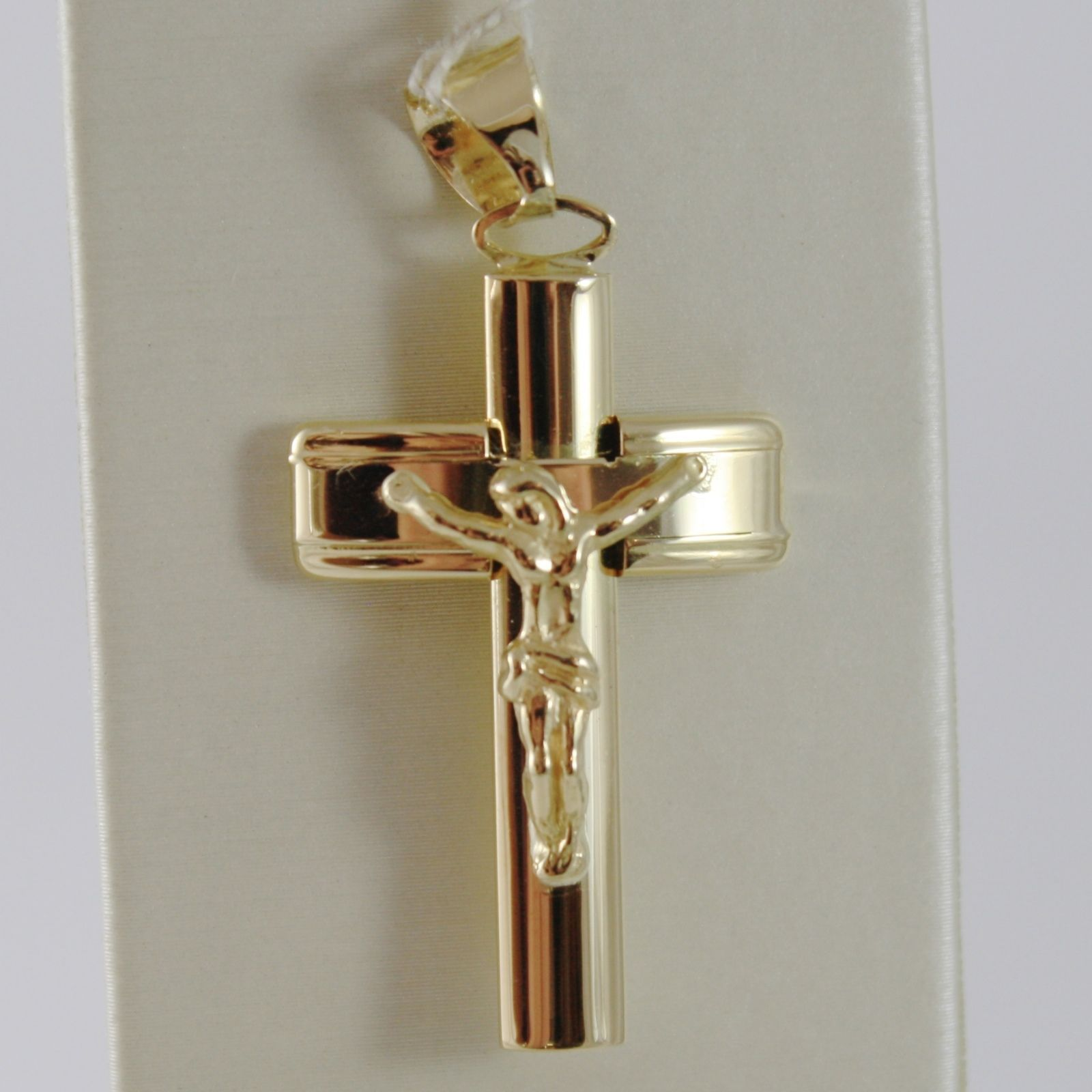 18K YELLOW JESUS GOLD CROSS SMOOTH STYLIZED FINELY WORKED CURVED MADE IN ITALY