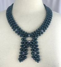 Blue Faux Pearl Woven Bead Bow Shape Necklace Vintage Mid Century Hong Kong - $23.72