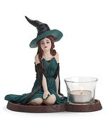Lenox Emerald Sorceress Witch Votive Figurine Halloween Bewitching Beaut... - £63.60 GBP