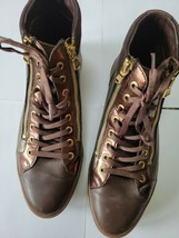 MEPHISTO WOMEN'S BRONZE LEATHER ANKLE DOUBLE ZIPPER LACE UP SNEAKER BOOT... - $134.39