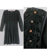 Carole Little black cotton dress P Crochet Bead... - $29.99