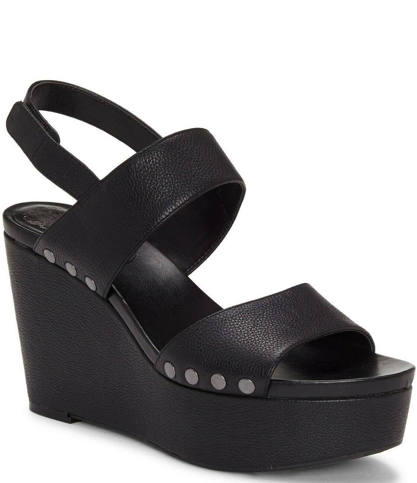 Vince Camuto Ventinda 2 Piece Leather Platform Wedge Sandals, Multip Sizes Black - $109.95