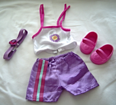 """Purple Shorts White Top Pink Shoes  Fits 18"""" Doll American Girl Our Gene... - $9.99"""