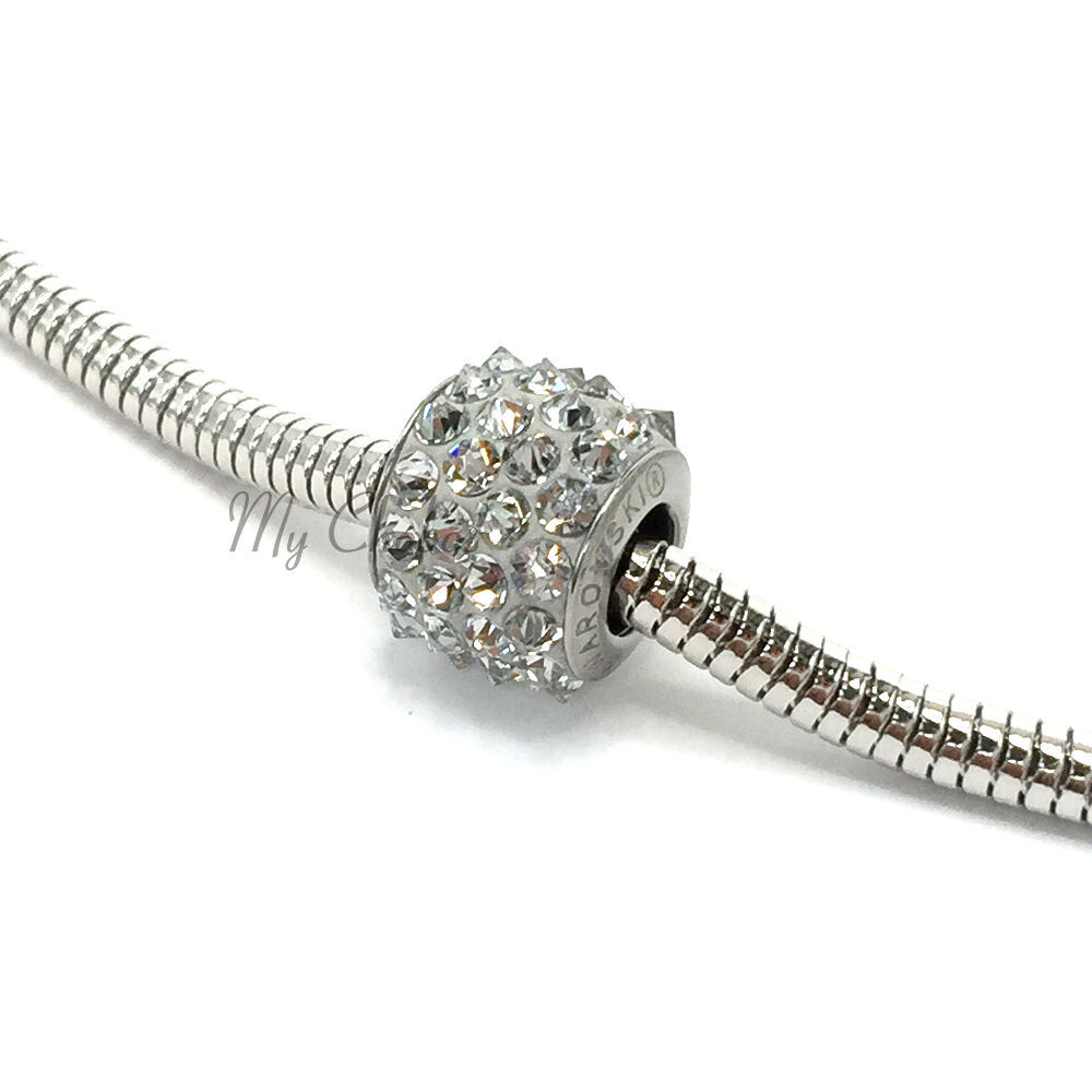 Swarovski European Fit Bracelet Charm Stainless BeCharmed Pave Spikes Crystal image 6