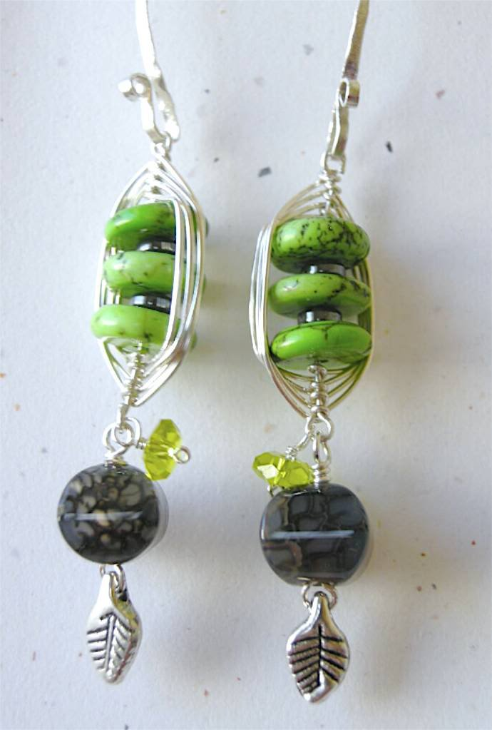 Green Turquoise Fire Agate weave wrap Designer earrings