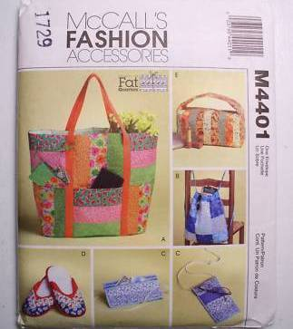 McCall's M4401 Bags & Travel Accessories for Fat Quarters Pattern