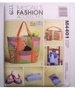 McCall's M4401 Bags & Travel Accessories for Fat Quarters Pattern - $6.95