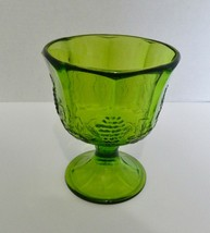 Indiana Glass Harvest Green Pressed Harvest Grape Design Planter Compote... - $19.68