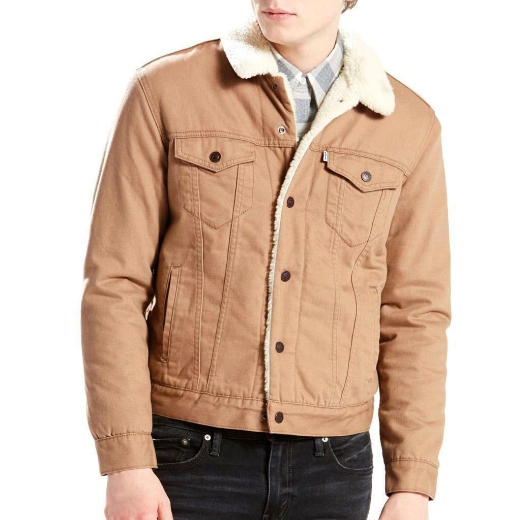 NEW LEVI'S MEN'S PREMIUM BUTTON UP FLANNEL SHERPA TRUCKER JACKET 163650017