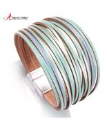 Amorcome Boho Mint Leather Bracelets for Women 2020 Fashion Ladies Slim ... - $12.99