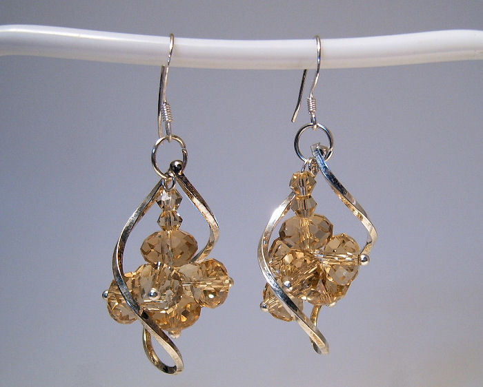 Earrings sterling yellow crystal beads