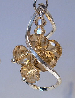 Earrings Sterling Silver Yellow Crystal Beads