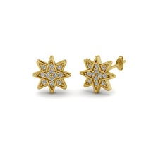 Star Design Women's Stud Earrings 14k Yellow Gold Plated 925 Silver Round Cut CZ - $42.99