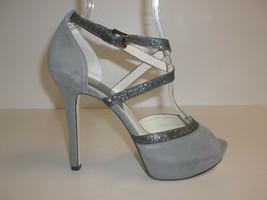 Michael Kors Size 10 Gray Suede Platform Heels Sandals New Womens Shoes - $98.01