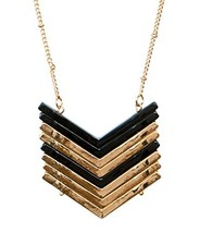 SPUNKYsoul Chevron Necklace Gold and Black or Silver and Black Necklaces... - $24.09