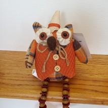 Owl Shelf Sitter, Plaid Fabric, wearing waistcoat and hat, bead legs, fall decor image 6
