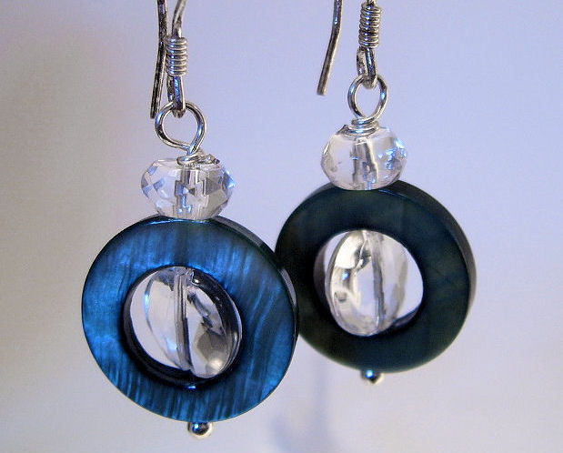 Earrings sterling black shell and crystal  2