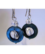 Earrings Sterling Silver Clear Crystals Spin in Black Shell  - $9.99