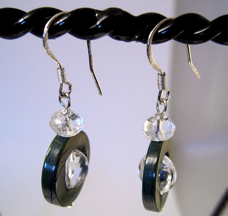 Earrings Sterling Silver Clear Crystals Spin in Black Shell
