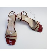 Ann Taylor Shoes Sandals Red Beige Heels Italy Womens Size 8 M - $37.58