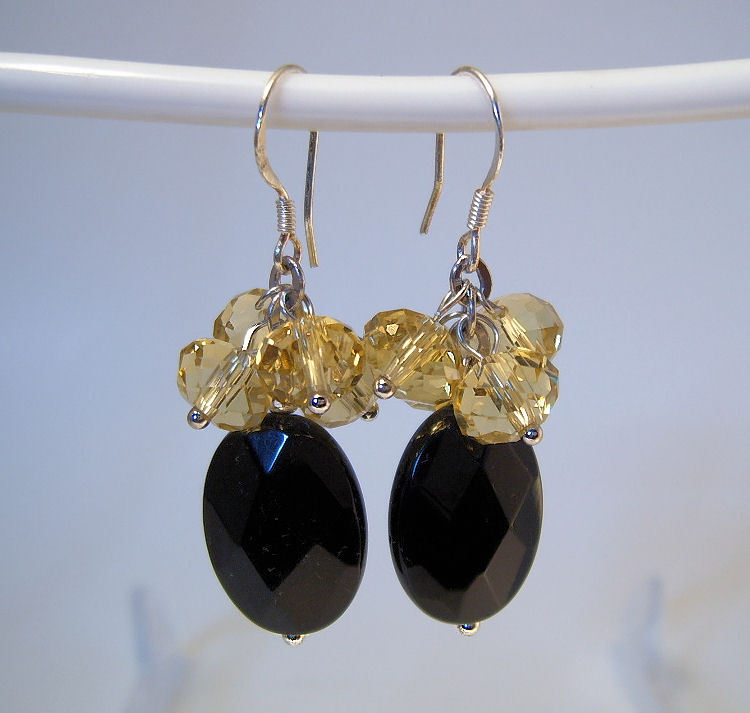 Earrings Sterling Silver Dangle Black Onyx Yellow Crystals