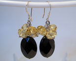 Earrings sterling yellow crystals and onyx faceted thumb155 crop