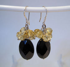 Earrings sterling yellow crystals and onyx faceted thumb200