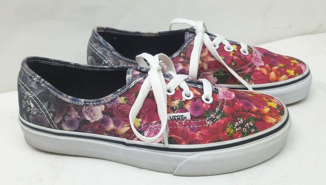 680e0aa7241f98 Rare Vans Women s Multicolor Flower Floral Digital Print Shoes Sneakers Size   7