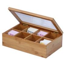 Tea Bag Organizer Bamboo Storage Box Holder Sections Glass Display Chest... - $14.16