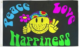 PEACE LOVE HAPPINESS 3X5' FLAG HIPPIE SMILEY FACE NEW - $9.85