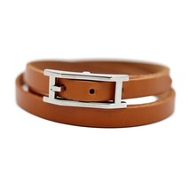 Hermes Api 3 bracelets Leather Brown Auth - $415.11