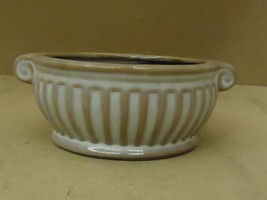 Designer Flower Pot Decorative 6in D x 3in H Brown/Gray Greek Round Ceramic - $21.31