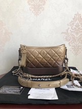 NWT Chanel 2019 Gradient Gold Bronze Gabrielle Quilted Hobo Bag GHW RECEIPT