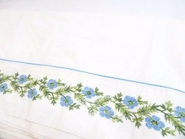 Fieldcrest Enchanted Evening Embroidered Floral Blue Full/Double Flat Sheet - $28.00
