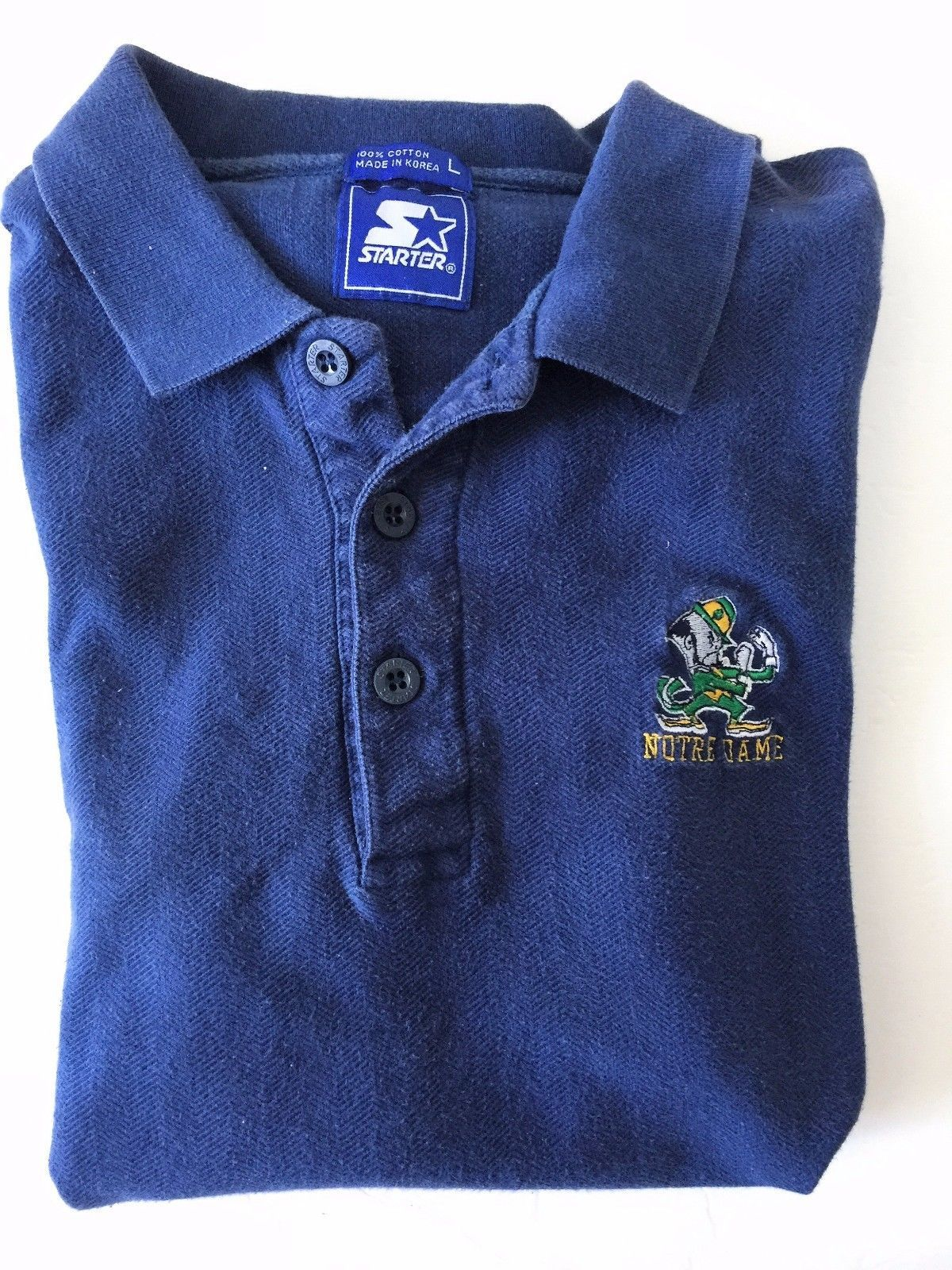 VTG Starter Mens Navy Blue Notre Dame Fighting Irish Polo Shirt Top Sz Large L