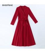 Plus size Dress Women 2019 Autumn Winter Long sleeve Large swing Dresses... - $80.50