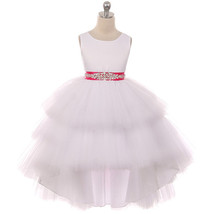 White Satin Bodice Hi-Low Layers Tulle Skirt Rhinestones Fuchsia Sash Gi... - $89.95+