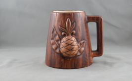 Teasure Craft Hawaii Beer Mug - Molded Pineapple (1969) - Brown Ceramic  - $45.00