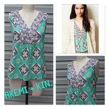 Anthropologie Size Small Akemi + Kin Hauraki green medallions Cotton Tank blouse - $22.40
